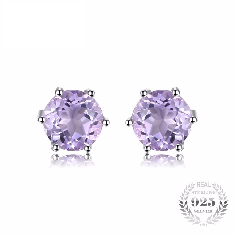 1b80065127733 Charming Round 0.9Ct Created Amethyst 925 Sterling Silver Stud Earrings