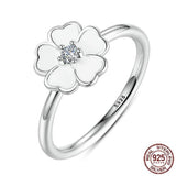 Charming Spring Flower Sterling Silver White Enamel Rings - Vera Nova Jewelry