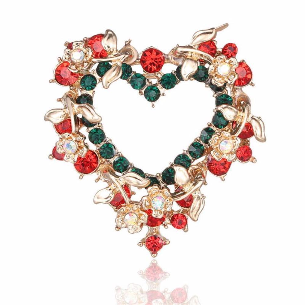 Christmas Heart Wreath.Christmas Heart Wreath Rhinestone Crystal Brooches
