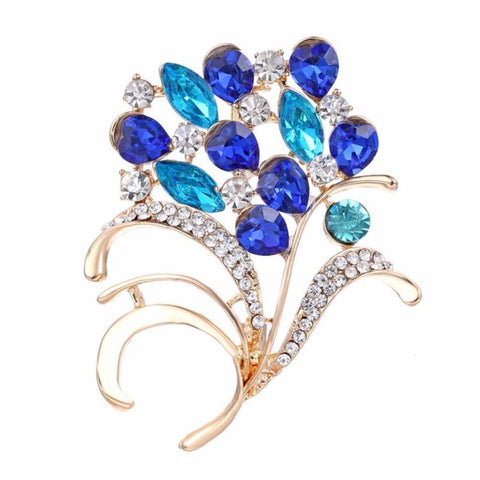 Classic Crystal Flowers Brooch - Vera Nova Jewelry