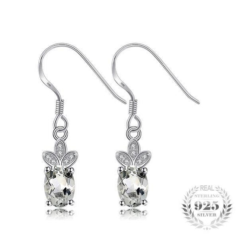 Compelling 1.9Ct Natural Green Amethyst 925 Sterling Silver Dangle Earrings - Vera Nova Jewelry