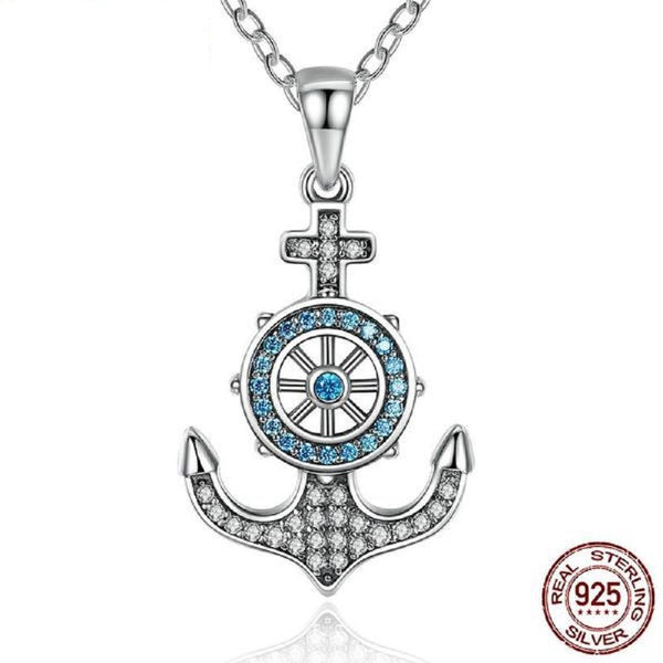 Compelling Blue Crystal Anchor & Rudder Sterling Silver Pendant Necklace Made With Swarovski Elements - Vera Nova Jewelry