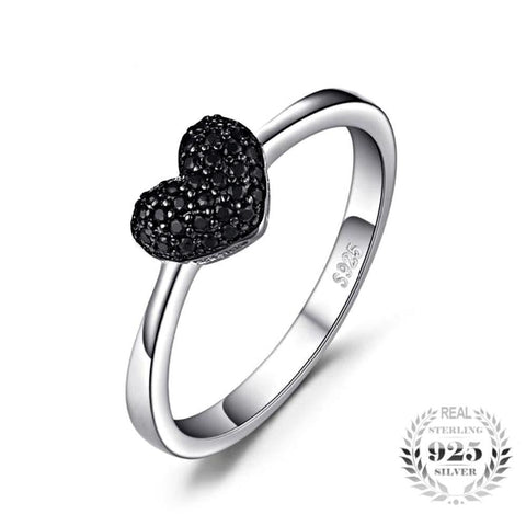 Compelling Heart 0.14Ct Natural Black Spinel 925 Sterling Silver Rings - Vera Nova Jewelry