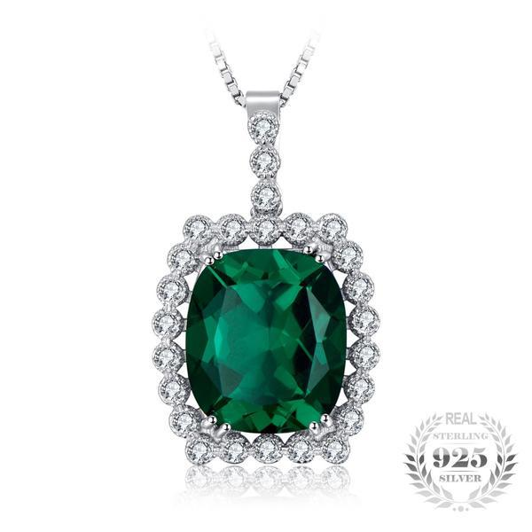 Compelling Luxury 11Ct Lab-Created Emerald 925 Sterling Silver Pendant Necklace - Vera Nova Jewelry