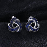 Cosmopolitan Flower 0.6Ct Created Blue Spinel 925 Sterling Silver Studs Earrings - Vera Nova Jewelry
