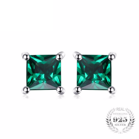 Cosmopolitan Square 0.6Ct Created Emerald 925 Sterling Silver Stud Earrings - Vera Nova Jewelry