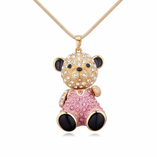 Cute Bear Pendant Necklaces Made With Swarovski Elementss - Vera Nova Jewelry