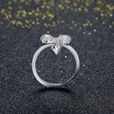 Cute Bow-Knot Heart Sterling Silver Adjustable Rings - Vera Nova Jewelry