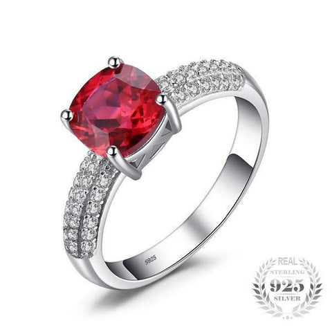 Debonair Cushion 2.6Ct Lab-Created Red Ruby Solitaire 925 Sterling Silver Ring - Vera Nova Jewelry