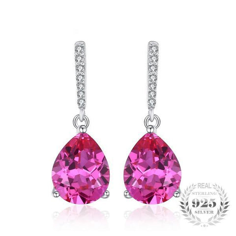 Delight Luxury 7Ct Lab-Created Pink Sapphire 925 Sterling Silver Drop Earrings - Vera Nova Jewelry