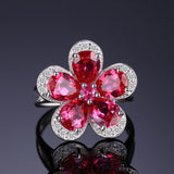Delightful 4.78Ct Created Ruby 925 Solid Sterling Silver Rings - Vera Nova Jewelry