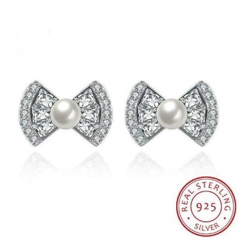 Delightful Classic Bow-Knot Studs Earrings Made With Pearls & Swarovski Crystals - Vera Nova Jewelry