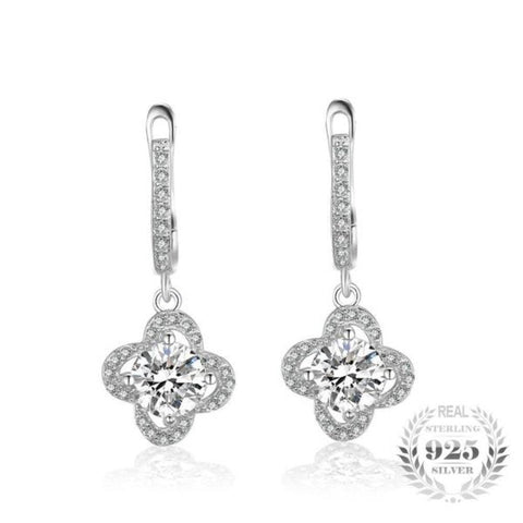 Delightful Flower 2.34Ct Cubic Zirconia 925 Sterling Silver Dangle Earrings - Vera Nova Jewelry