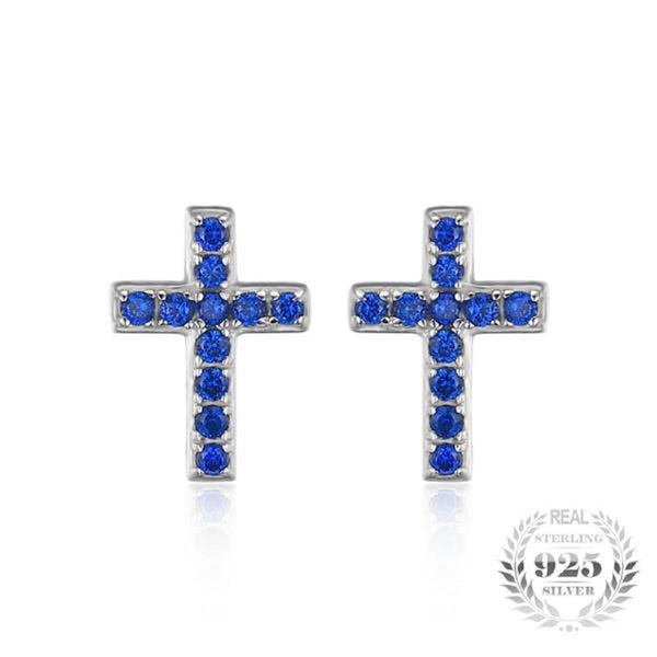 Divine 0.1 Ct Created Blue Spinel Cross 925 Sterling Silver Stud Earrings - Vera Nova Jewelry