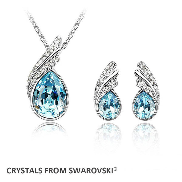 Drop Pendant Necklace Earrings Jewelry Sets Made With Swarovski Elements - Vera Nova Jewelry