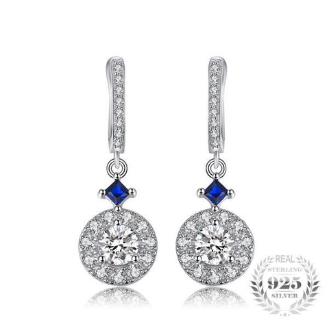 Elegant 1.2Ct Lab-Created Blue Spinel & Cubic Zirconia 925 Sterling Silver Drop Earrings - Vera Nova Jewelry