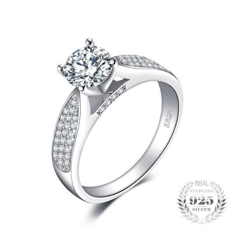 Elegant 1Ct Round Cubic Zirconia Engagement Ring Made With 925 Sterling Silver - Vera Nova Jewelry