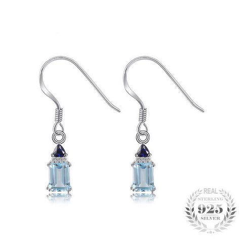 Elegant 2.28Ct Natural Sky Blue Topaz 925 Sterling Silver Drop Earrings - Vera Nova Jewelry