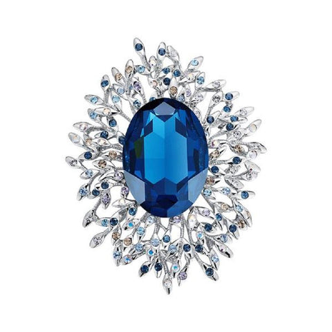 Elegant Blue Brooches Made With Swarovski Elements - Vera Nova Jewelry