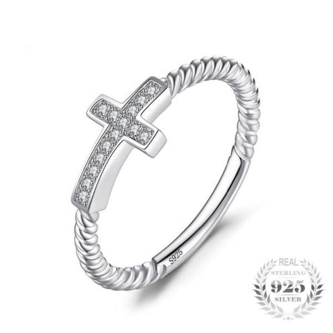 Elegant Cross 0.07Ct Round Cubic Zirconia Statement Ring Made With 925 Sterling Silver - Vera Nova Jewelry