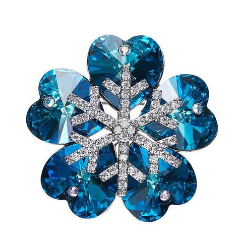 Elegant Hearts Snowflakes Brooches Made With Swarovski Elements - Vera Nova Jewelry