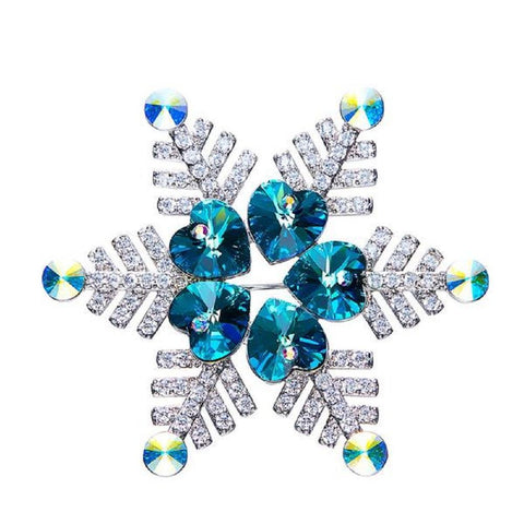 Elegant Snowflake Brooches Made With Swarovski Elements And Austrian Rhinestone - Vera Nova Jewelry