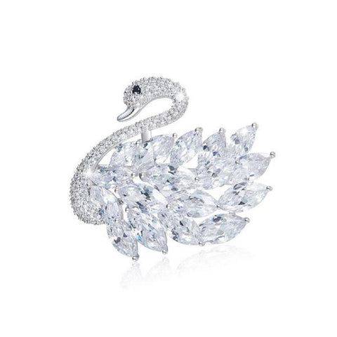 Elegant Swan Brooches Made With Swarovski Elements - Vera Nova Jewelry