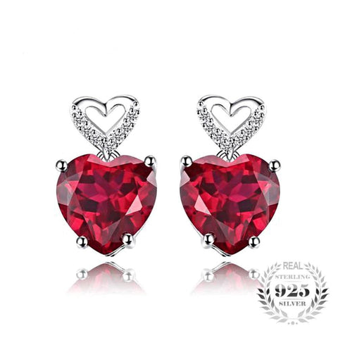 Empyrean Heart 7.2Ct Created Ruby Sterling Silver Earrings - Vera Nova Jewelry