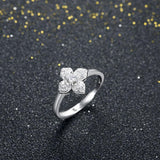 Endearing Flower Sterling Silver Adjustable Rings - Vera Nova Jewelry
