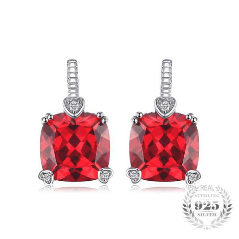 Enduring Beauty 6.7Ct Cushion-Cut Lab-Created Ruby 925 Sterling Silver Drop Earrings - Vera Nova Jewelry