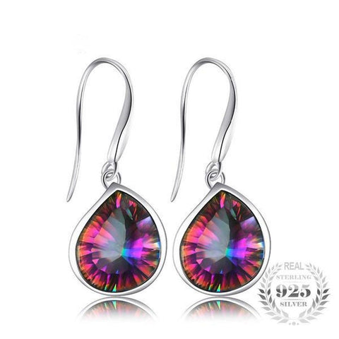 Ethereal 6Ct Genuine Natural Rainbow Fire Mystic Topaz 925 Sterling Silver Dangle Earrings - Vera Nova Jewelry