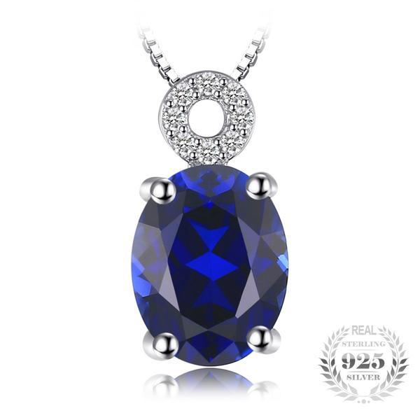 Evocative 2.6Ct Oval Lab-Created Sapphire 925 Sterling Silver Pendant Necklace - Vera Nova Jewelry