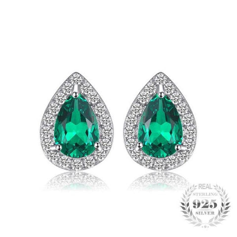 Exotic 0.85Ct Created Emerald 925 Sterling Silver Stud Earrings - Vera Nova Jewelry