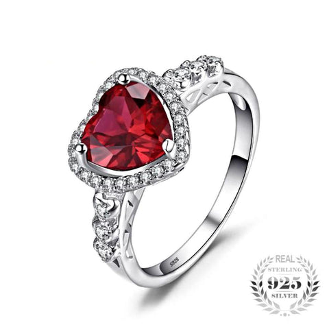 Exquisite Heart Of Ocean 2.53Ct Created Red Ruby Halo Sterling Silver Rings - Vera Nova Jewelry