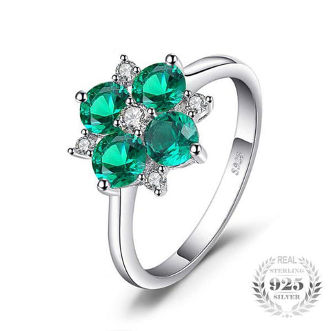 Exquisite Lucky Clover Flower 1.4Ct Round Cut Rings  Made With 925 Sterling Silver - Vera Nova Jewelry