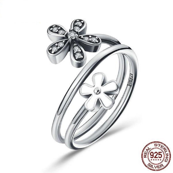 Exquisite White Enamel & Clear Cz Flower Sterling Silver Rings - Vera Nova Jewelry
