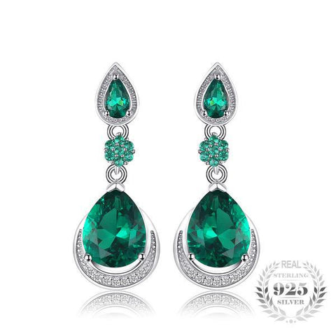 Extravagant 14.38Ct Luxury Lab-Created Emerald 925 Sterling Silver Water Drop Earrings - Vera Nova Jewelry