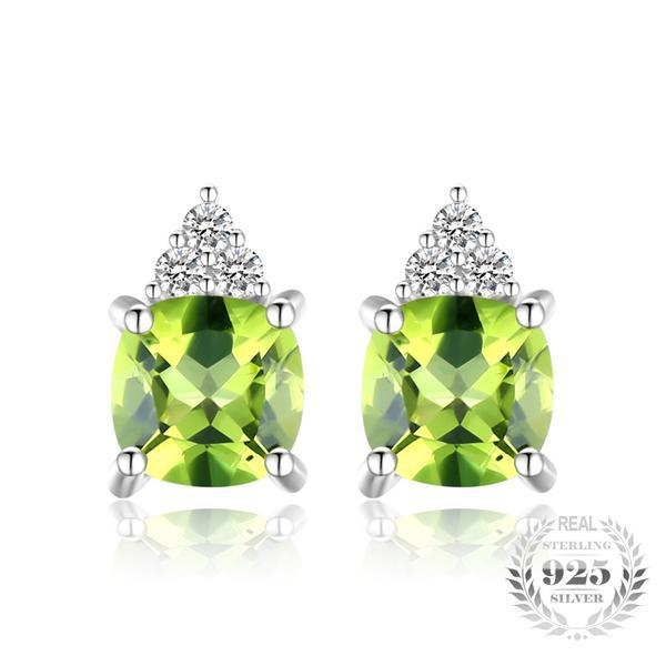7d3de4138 Gilded 1.4Ct Cushion Cut Genuine Peridot Stud Earrings Quartz Amethyst  Cluster 925 Sterling Silver Fine