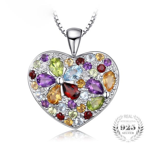 Glamorous 4.9Ct Heart Multicolor Gemstones 925 Sterling Silver Pendant Necklace-Necklaces-Vera Nova Jewelry