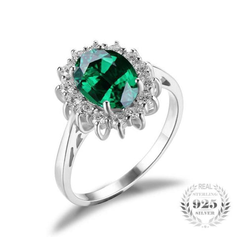 Glamourous 2.5Ct Created Emerald Rings Made With Solid 925 Sterling Silver - Vera Nova Jewelry