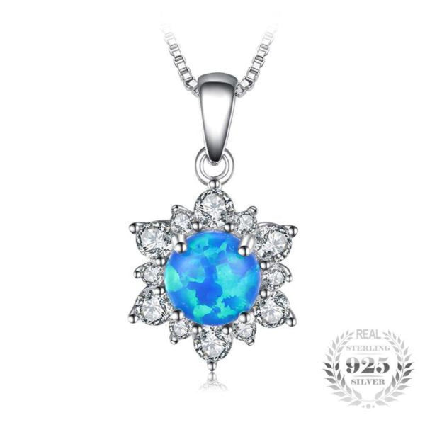 Glowing 0.6Ct Created Opal 925 Sterling Silver Pendant Necklace-Necklaces-Vera Nova Jewelry