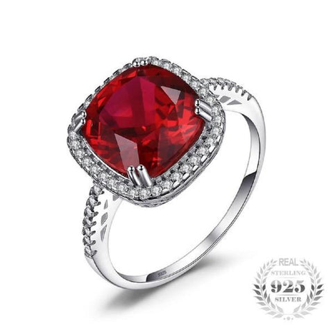 Gorgeous Cushion 6.5Ct Created Red Ruby Halo Sterling Silver Rings-RINGS-Vera Nova Jewelry