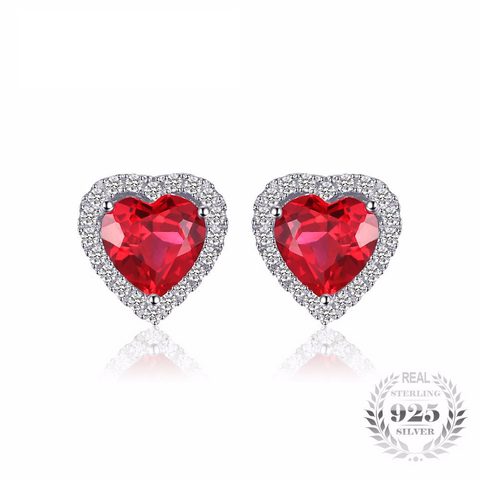 Gorgeous Heart Of Ocean 3.8Ct Created Red Ruby 925 Sterling Silver Stud Earrings-EARRINGS-Vera Nova Jewelry