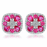 Gracious Classic 2.8Ct Created Pink Sapphire 925 Sterling Silver Stud Earrings-EARRINGS-Vera Nova Jewelry