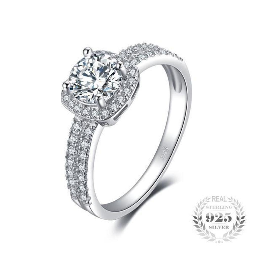 ded68ef6ff070 Halo 1.1Ct Round Cubic Zirconia Ring Made With Genuine 925 Sterling Silver  Ring