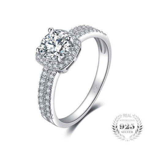 Halo 1.1Ct Round Cubic Zirconia Ring Made With Genuine 925 Sterling Silver Ring-RINGS-Vera Nova Jewelry