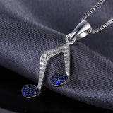 Harmony Music Note 0.1Ct Created Blue Sapphire 925 Sterling Silver Pendant Necklace-Necklaces-Vera Nova Jewelry
