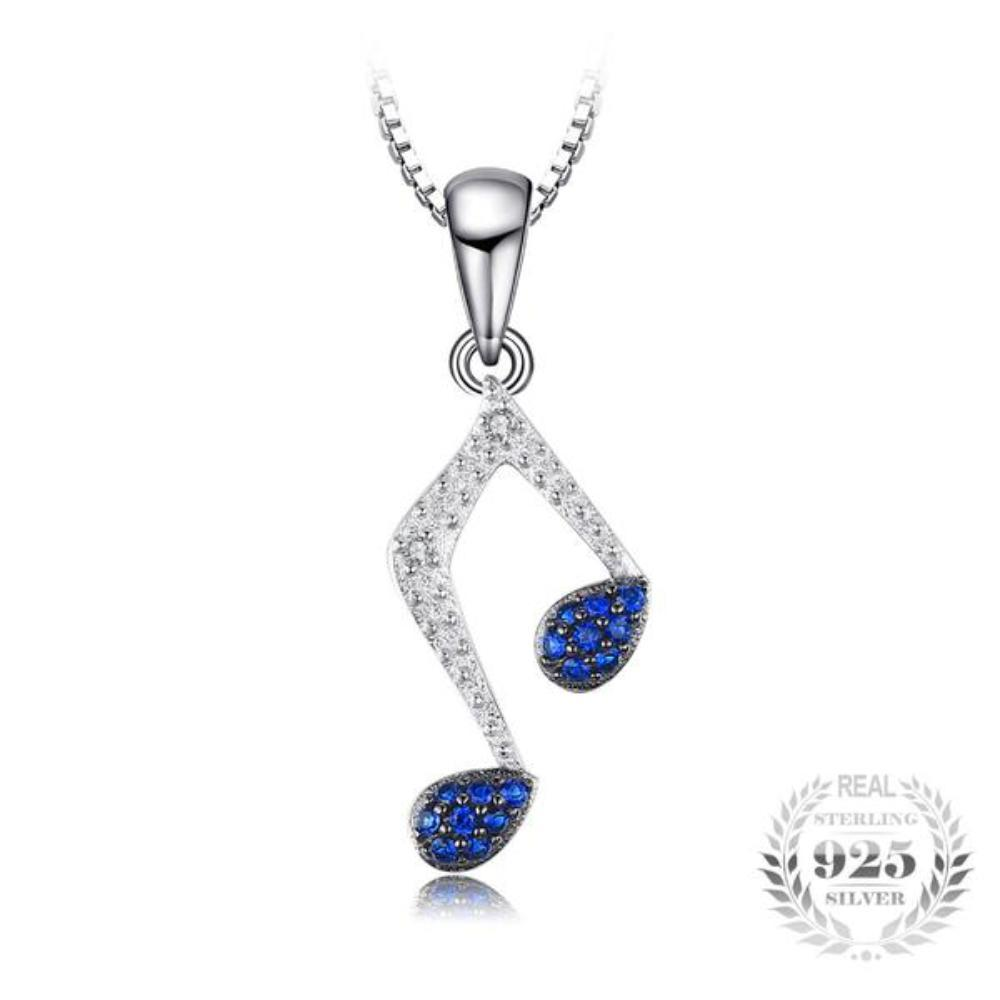 3b0bf1b0574c9e Harmony Music Note 0.1Ct Created Blue Sapphire 925 Sterling Silver Pendant  Necklace-Necklaces-
