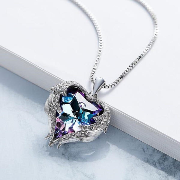 Heart Shaped Pendant Necklaces Made With Swarovski Elements-Necklaces-Vera Nova Jewelry