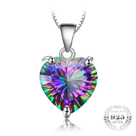 Heart Tres Belle 4.35Ct Genuine Rainbow Fire Mystic Topaz 925 Sterling Silver Pendant Necklace-Necklaces-Vera Nova Jewelry